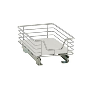 "Heavy gauge chrome wire shelf on a sliding track that will easily mount on your existing wire rack. Glides smoothly on ball bearings to the full length of the 15"" track."