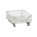 This sliding wire shelf has tracks that will easily attach to your existing chrome wire rack. Brackets are provided. This chrome organizer is the perfect size for household appliances such as blenders.