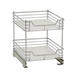 "18""d x 14""w x 16""h chrome sliding shelf organizer that transforms from one to two tiers."