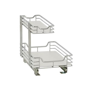 "18""d x 12""w x 14""h chrome sliding shelf organizer that transforms from one to two tiers."