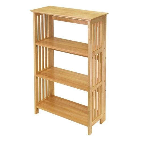 4 Tier folding Wood Shelving Stand, Mission Shelf- Winsome
