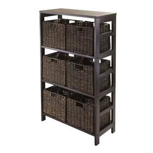 Granville 7-Piece Storage Shelf w/ 6 Baskets - Espresso