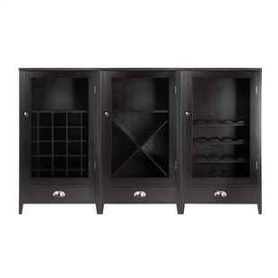 Bordeaux 3-Piece Modular Wine Cabinet Set w/ Tempered Glass Doors