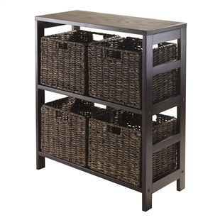 Granville 5-Piece Storage Shelf w/ 4 Baskets - Espresso