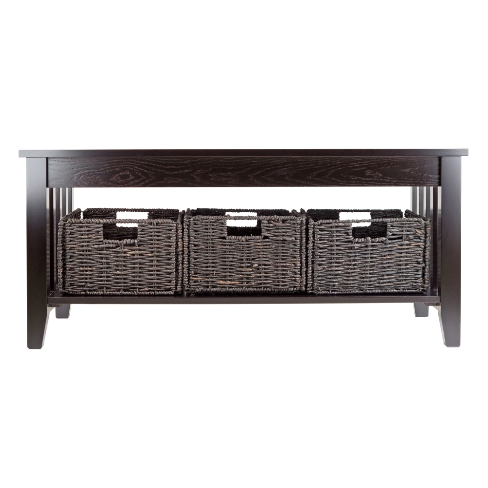 - Morris Coffee Table W/ 3 Baskets By Winsome Wood