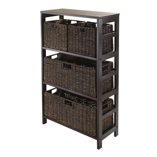 Granville 5-Piece Storage Shelf w/ 2 Large & 2 Small Baskets - Espresso