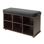 The space beneath the bench has cubby cubes that allow for maximum storage and organization. Espresso wood with black cushion.