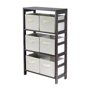 Capri 3-Section M Storage Shelf w/ 6 Baskets