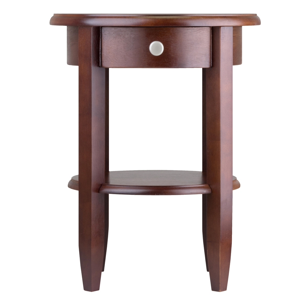 Concord Round End Table W Drawer Shelf