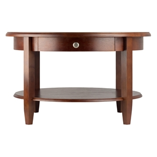 Concord Round Coffee Table w/ Drawer & Shelf
