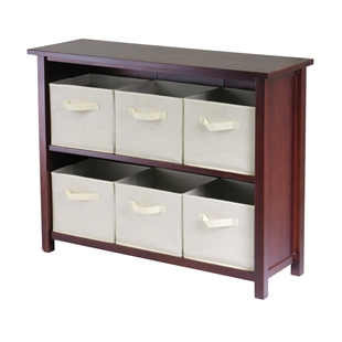 Verona 2-Section W Storage Shelf w/ 6 Baskets