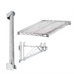 Extend the length of your wall mounted shelves with this add on kit. Includes wall mounted post kit, extra shelf, and double bracket to hold shelves in place.
