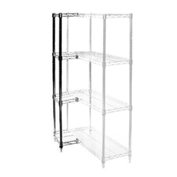 "Industrial Wire Shelving Add On Kit with 4 Shelves - 8""d x 8""h"