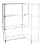"Wire Shelving Add On Kit with 4 Shelves - 12""d x 48""h"
