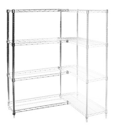 "Wire Shelving Add On Kit with 4 Shelves - 18""d x 48""w"