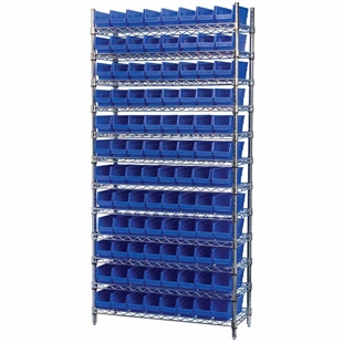 "4"" Shelf Bin Wire Shelving System w/ Blue Bins"