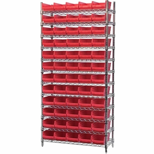 "4"" Shelf Bin Wire Shelving System"