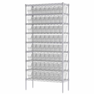 "6"" ShelfMax Wire Shelving Systems w/ Clear Bins"