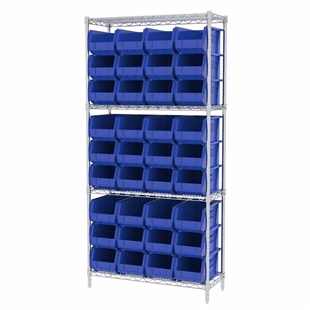 ShelfMax8 Wire Shelving System w/ Blue Bins