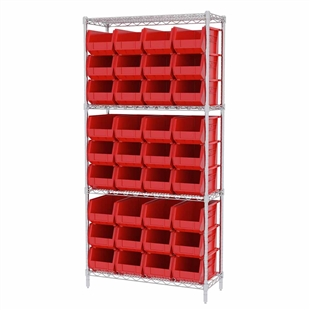AkroBin Wire Shelving System w/ Red Bins