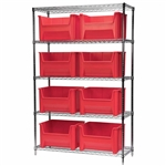 Stak-N-Store Wire Shelving units with Akro Bins for storage