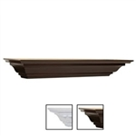 Crown Moulding shelf 5 inch deep x 36 inch wide in white and espresso
