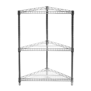 "SI 24"" Chrome Wire Shelving Triangle Corner Unit with Three Shelves"