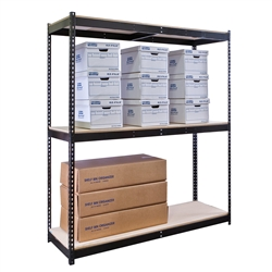 "24""d Black Double Rivet Shelving Starter Unit with 3 Levels"