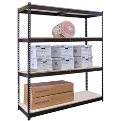 "30""d Black Double Rivet Shelving Starter Units with 4 Levels"