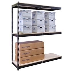 "48""d Black Double Rivet Shelving Add On Unit with 3 Levels"