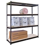 "48""d Black Double Rivet Shelving Starter Units with 4 Levels"