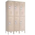 "Double Tier Lockers - 15""d x 12""w x 78""h - Champagne"