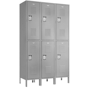 "Double Tier Lockers - 15""d x 12""w x 78""h - Gray"