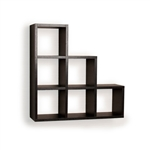 Stepped Six Cubby Wall Shelf