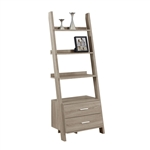 Dark Taupe Ladder Bookcase with Drawers