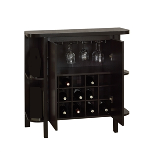 "Cappuccino 36""h Bar Unit with Bottle and Glass Storage"