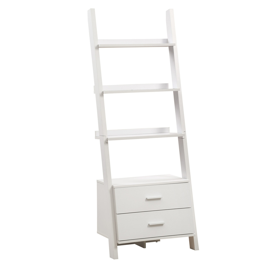 White 69 H Ladder Bookcase With 2 Storage Drawers