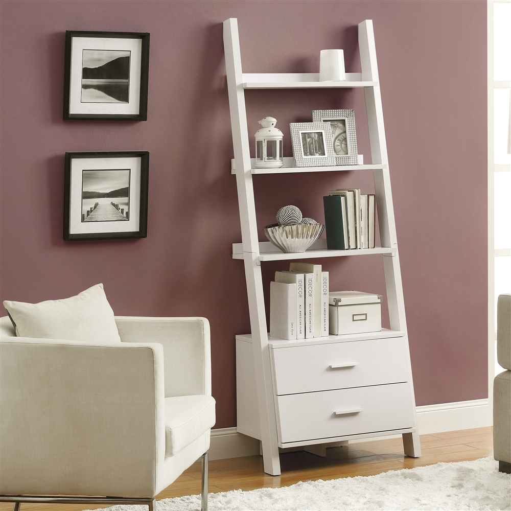 white 69 h ladder bookcase with 2 storage drawers. Black Bedroom Furniture Sets. Home Design Ideas