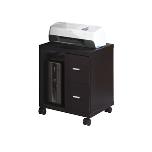 Cappuccino Hollow-Core 2 Drawer Computer Stand On Casters
