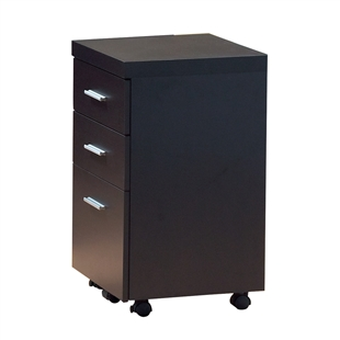 Cappuccino Hollow-Core File Cabinet On Casters