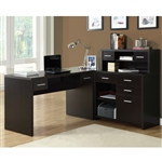Cappuccino Hollow-Core L Shaped Home Office Desk