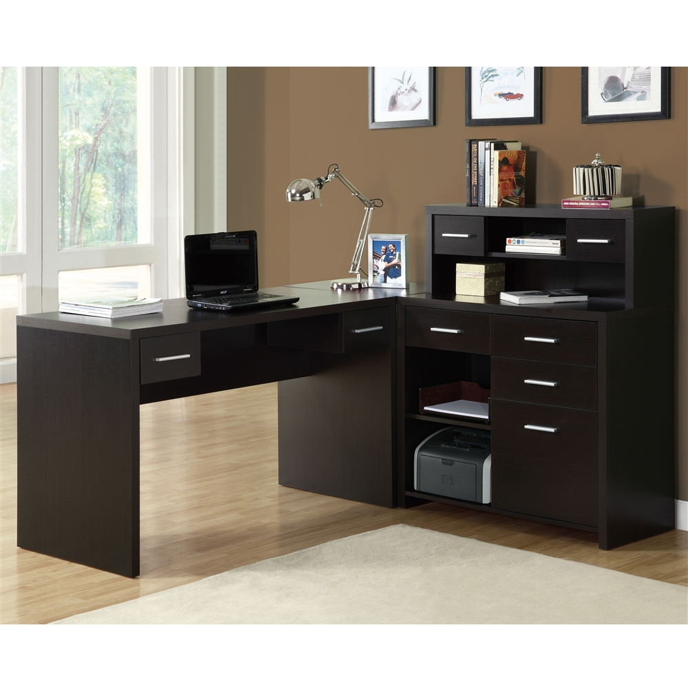 Cappuccino hollow core l shaped home office desk