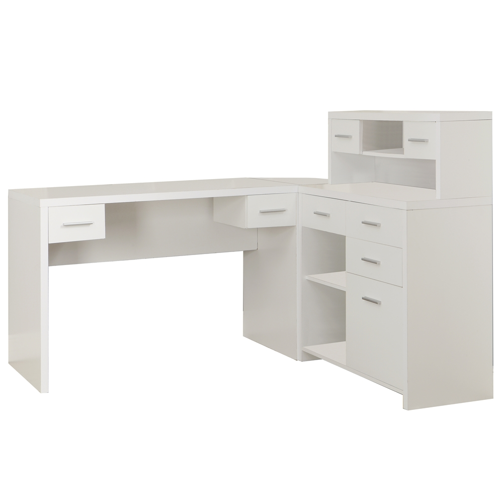 White Hollow-Core L Shaped Home Office Desk | Shelving.com