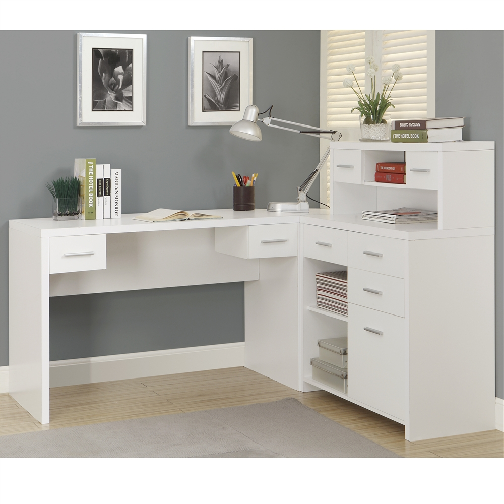 White hollow core l shaped home office desk