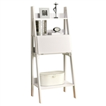 "White 61""h Ladder Bookcase with Drop-Down Desk"