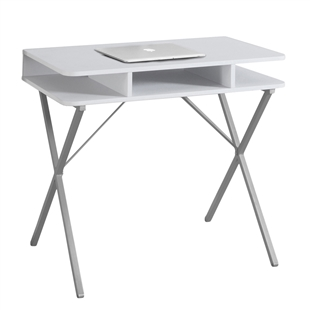 Simple White Computer Desk w/ Silver Legs