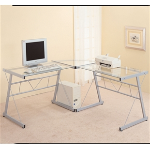 Glass & Black Metal L-Shaped Computer Desk