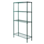 "14""d Green epoxy wire 4 shelf unit with 4 Shelves"