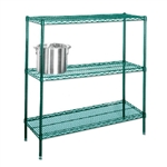 "14"" Green epoxy coated chrome wire with 3 Shelves"