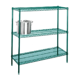 "14"" Green epoxy coated chrome wire 4 shelf unit"